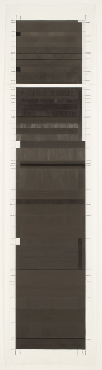 "© Joan Waltemath. ""Dinwoody I,"" 2005, graphite and colored pencil on mylar print, 80 x 20."""