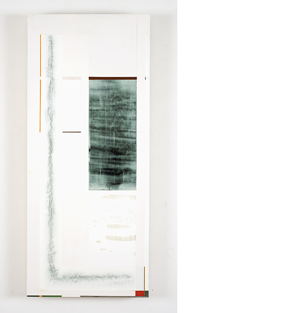"""© Joan Waltemath. """"grey lightening East 3 1,2,3,5,8...,"""" 2012-2014, oil, graphite, pewter, interference, glimmer and florescent pigment on honeycomb aluminum panel, 33 7/8 x 14 9/16."""""""