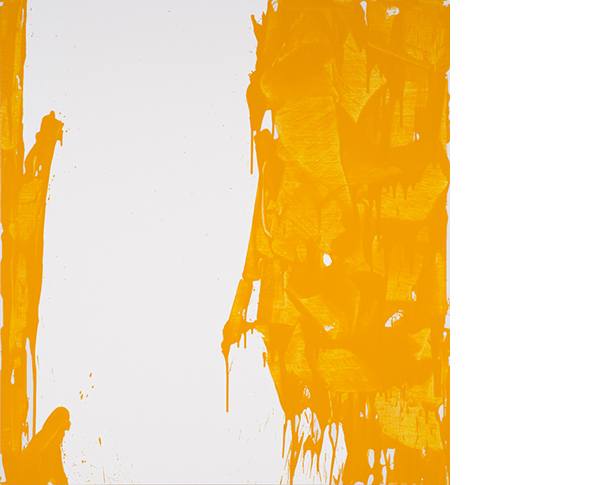 "John Zinsser, ""Yellow Canyon,"" 2015, Enamel and oil on canvas, 56 x 52."" Courtesy Graham Gallery."
